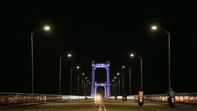 Thuan Phuoc Bridge at night. Night traffic. Da Nang, Vietnam. stock video footage