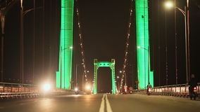 Thuan Phuoc Bridge at night. Night traffic. Da Nang, Vietnam. stock video