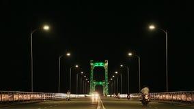 Thuan Phuoc Bridge at night. Night traffic. Da Nang, Vietnam. stock footage