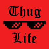 Thug Life sticker. Thug Life glasses sticker. Applique, apparel, label for t-shirts, jeans, casual wear. Vector illustration Stock Photography
