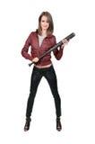 Thug. Woman gang banger holding a baseball bat Stock Photography