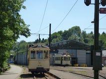 Thuin - 11 juin : Vieille tramway de tramway d'héritage devant le musée de transport Photo prise le 11 juin 2017, Thuin, Belgique Photo libre de droits