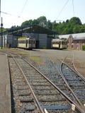 Thuin - 11 juin : Vieille tramway de tramway d'héritage devant le musée de transport Photo prise le 11 juin 2017, Thuin, Belgique Image stock