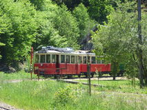 Thuin - June 4: Old heritage streetcar tramway in Aisne.Photo taken on June 4, 2017, Aisne, Belgium. Royalty Free Stock Image