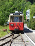 Thuin - June 4: Old heritage streetcar tramway in Aisne.Photo taken on June 4, 2017, Aisne, Belgium. Stock Photos