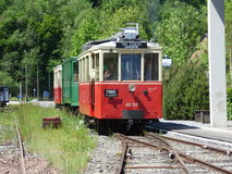 Thuin - June 4: Old heritage streetcar tramway in Aisne.Photo taken on June 4, 2017, Aisne, Belgium. Royalty Free Stock Photo