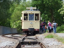 Thuin - June 11: Old heritage streetcar tramway in Biesme-sous-Thuin. Photo taken on June 11, 2017, Thuin, Belgium. Stock Images
