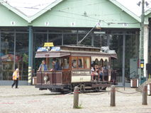 Thuin - June 11: Old heritage streetcar tramway in front of Tram Museum in Brussels.  Photo taken on June 11, 2017, Brussels Stock Photography