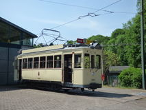 Thuin - June 11: Old heritage streetcar tramway in front of the Transport museum. Photo taken on June 11, 2017, Thuin, Belgium. Stock Image