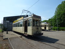 Thuin - June 11: Old heritage streetcar tramway in front of the Transport museum. Photo taken on June 11, 2017, Thuin, Belgium. Royalty Free Stock Image