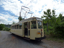 Thuin - June 11: Old heritage streetcar tramway in front of the Transport museum. Photo taken on June 11, 2017, Thuin, Belgium. Royalty Free Stock Photo