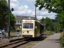 Thuin - June 11: Old heritage streetcar tramway in front of the Transport museum. Photo taken on June 11, 2017, Thuin, Belgium. Royalty Free Stock Images