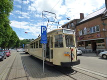 Thuin - June 11: Old heritage streetcar tramway in Thuin ville basse. Photo taken on June 11, 2017, Thuin, Belgium. Royalty Free Stock Photos