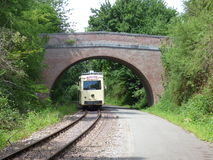 Thuin - June 11: Old heritage streetcar tramway on the way to Biesme-sous-Thuin. Photo taken on June 11, 2017, Thuin, Belgium. Royalty Free Stock Photos