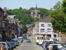 Thuin - 11 Juni: Het oude die tramspoor van de erfenistram in Foto Thuin -thuin-ville-basse op 11 Juni, 2017, Thuin, België wordt Royalty-vrije Stock Fotografie