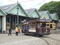 Thuin - 11 Juni: Het oude tramspoor van de erfenistram voor Trammuseum in Brussel Foto op 11 Juni, 2017, Brussel wordt genomen da Royalty-vrije Stock Afbeeldingen