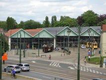Thuin - 11 Juni: Het oude tramspoor van de erfenistram voor Trammuseum in Brussel Foto op 11 Juni, 2017, Brussel wordt genomen da Stock Foto