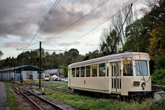 Thuin - October 30: Old heritage streetcar tramway Stock Image