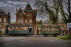 Thuin - October 30: Old heritage streetcar tramway Royalty Free Stock Image