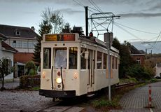 Thuin - October 30: Old heritage streetcar tramway Royalty Free Stock Images