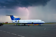 Thuinder storm in a provincial airport. Storm in a provincial airport royalty free stock image