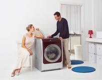 Thuis doend wasserij stock foto's
