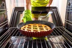 Thuis het koken in de oven stock foto