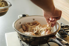 Thuis het koken van keuken Stock Foto