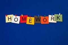 Thuiswerk - tekenreeks voor onderwijstermijnen. stock afbeelding