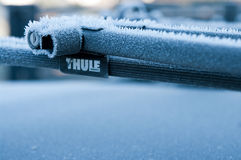 Thule roof bike stand in winter Stock Images