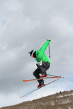 Thule Telemark Big Air. Telemark freeskiers hit the big air jump at the base of Vail Mountain in Colorado during the first Winter Teva Mountain Games Royalty Free Stock Image