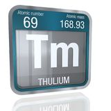 Thulium symbol in square shape with metallic border and transparent background with reflection on the floor. 3D render. Element number 69 of the Periodic Table vector illustration