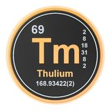 Thulium Tm chemical element. 3D rendering. Isolated on white background vector illustration