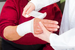 Thumb bandaging Royalty Free Stock Photo