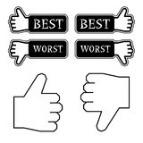 Thumb best worst labels Royalty Free Stock Image