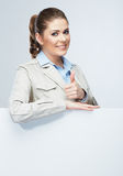 Thumb business woman portrait, white banner. Royalty Free Stock Image