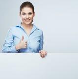 Thumb business woman portrait, white banner. Stock Photo
