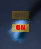 Thumb clicks on the button. Royalty Free Stock Photos