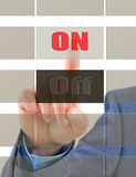 Thumb clicks on the button Royalty Free Stock Photo