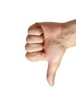Thumb down. On a white background Royalty Free Stock Photo