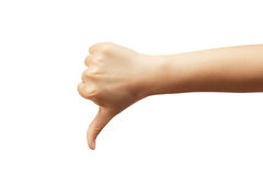 Thumb down. Isolated on white background Royalty Free Stock Photo