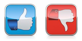 Thumb down. 3D illustration of thumb up and down icons isolated on white background Stock Photography