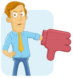 Thumb down. Businessman with thumb down foam hand royalty free illustration