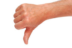 Thumb Down. As negative sign, isolated on white Royalty Free Stock Photo