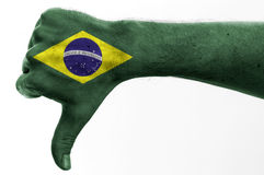 Thumb down brazil Royalty Free Stock Photos
