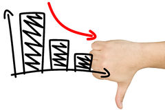 Thumb Down Decreasing Bar Graph Clear Glass Whiteboard Royalty Free Stock Image