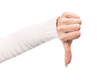 Thumb down female hand sign Royalty Free Stock Photo