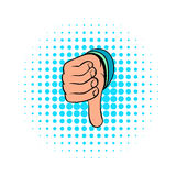 Thumb down gesture icon, comics style Royalty Free Stock Image