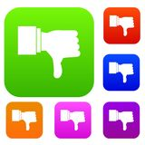Thumb down gesture set collection. Thumb down gesture set icon in different colors isolated vector illustration. Premium collection Royalty Free Stock Image