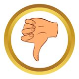 Thumb down gesture vector icon, cartoon style Royalty Free Stock Photography